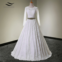 2017 A line lace Sweetheart Crystals Real Photo Lace Princess Long Sleeves Wedding Dresses Ball Gown