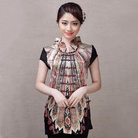 High Quality Chinese Ethnic Style Blouse Women S Silk Satin Shirt Summer Short Sleeve Tang Suit