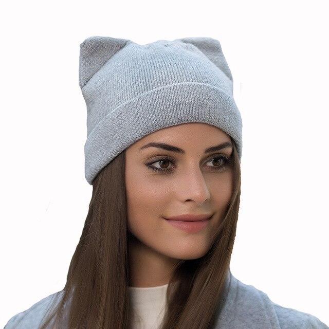 Solid Women Autumn Winter Knitted Hats Cute Kitty Beanie Hat For Women  Girls Winter Real Wool Cat s Ear Cap Skullies Gorras 95d5484eb