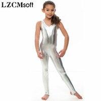 LZCMsoft Child Shiny Metallic Silver Sleeveless Gymnastics Unitards Bodysuit With Stirrup Stage Performance Dancewear For Girls