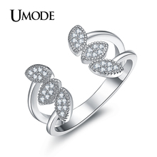 UMODE Brand Fashion Jewelry Flower Shape Crystal Open Ring for Women White Gold Color Party Cocktail Ring Hot Gift Anel AUR0375