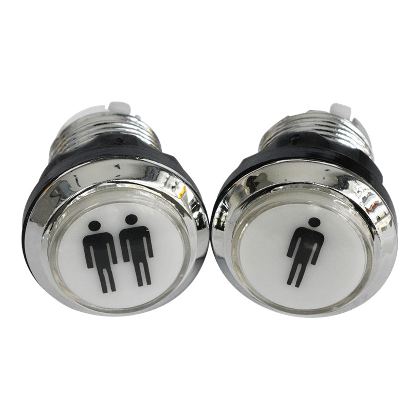1pc 33mm silver chrome LED illuminated arcade switch push button with microswitch for arcade game console Mame Jamma