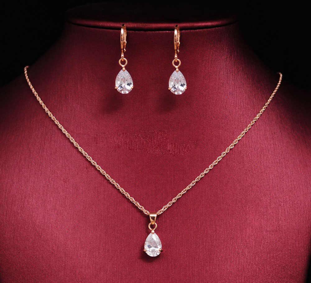 Nova moda casamento cz cristal conjuntos de jóias para as mulheres cor do ouro água gota colar brincos contas africano conjuntos de jóias bijoux