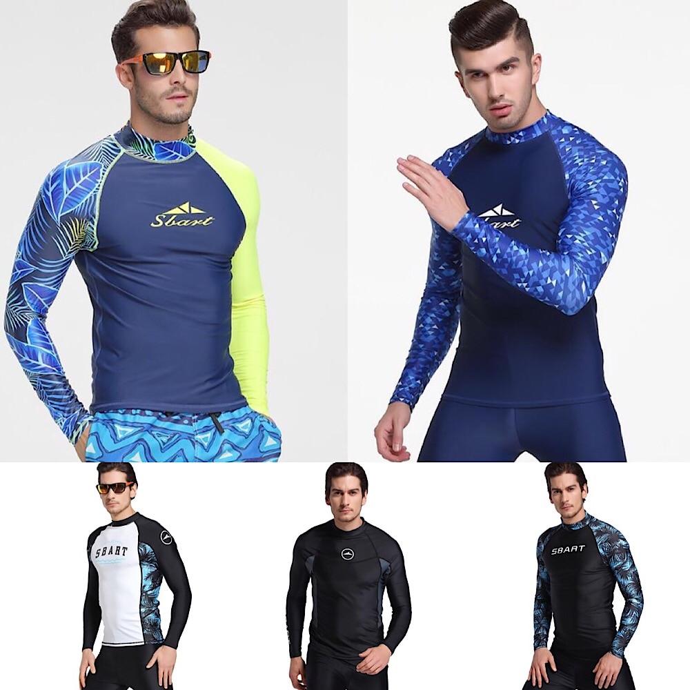 Sbart rash guard men upf 50 + manga longa emenda uv proteção solar peles básicas surf mergulho natação t camisa azul preto m 3x