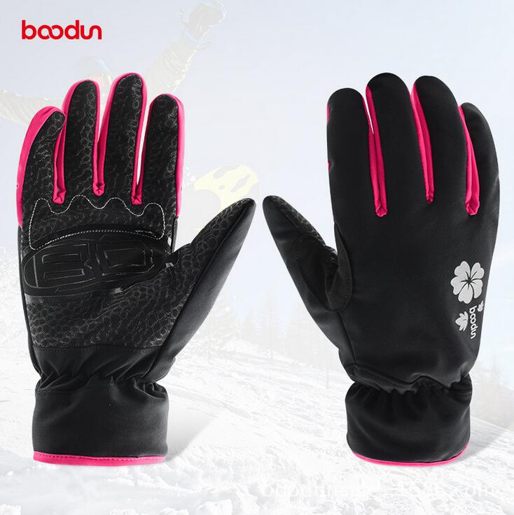 Boodun Winter Outdoor Sports Women Windproof Waterproof Warm Cycling Gloves Snow Snowmobile Motorcycle snowboard Skiing Gloves