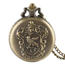 Ravenclaw Necklace Quartz Antique Style Retro Harry Potter Eagle Fashion Chain Gift Pendant Men Pocket Watch  Copper chic harry potter da book scroll shape pendant necklace