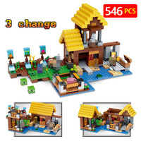 New Technic LegoINGLYs Minecrafter Village Toys For Children Classic The Farm Cottage DIY Bricks Mini Action figures