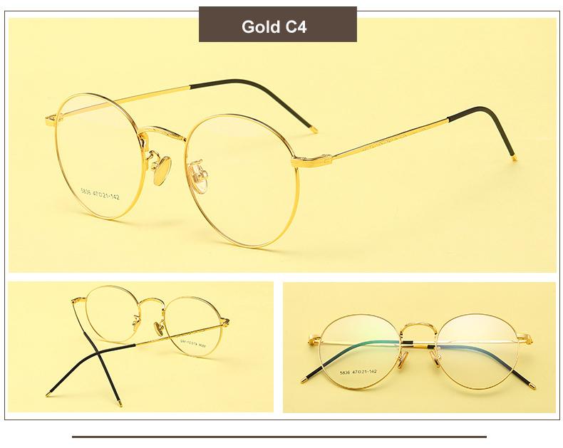 073d28cb09 Metal Eyeglasses Frames Women Classic Optical Prescription Eyeglass Round  Frame Clear Lens Reading Glasses Ultra Light Frames