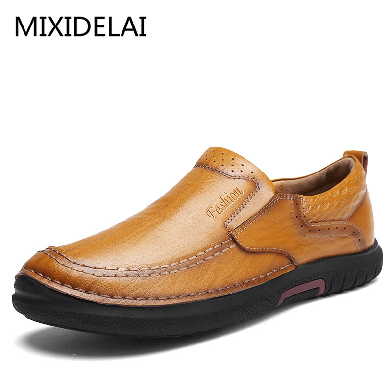 Handmade Leather Men Shoes Casual Luxury Brand Men Loafers Fashion Breathable Driving Shoes Slip On Stylish Flat Moccasins farvarwo genuine leather alligator crocodile shoes luxury men brand new fashion driving shoes men s casual flats slip on loafers