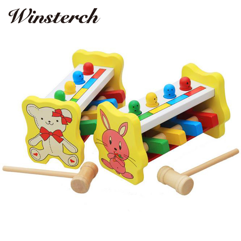 Baby Hammering Wood Knocking Toy Kids Early Educational Wooden Toys Gifts for Children ZS018 2017 montessori education baby wood knocking ball ladder pound and roll tower kids puzzle early educational wooden toys set mz23