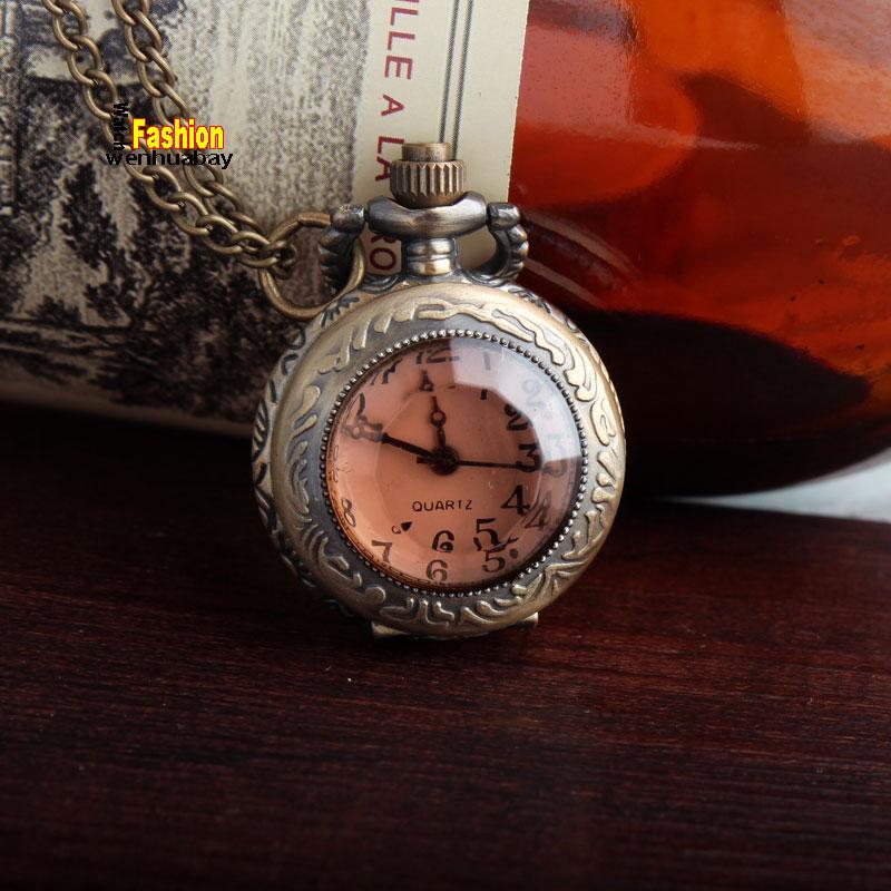 Bronze Pendent Small Size Pocket Watch Dark Brown Glass Necklace Vintage Quartz Pocket Watch Lady P03-1