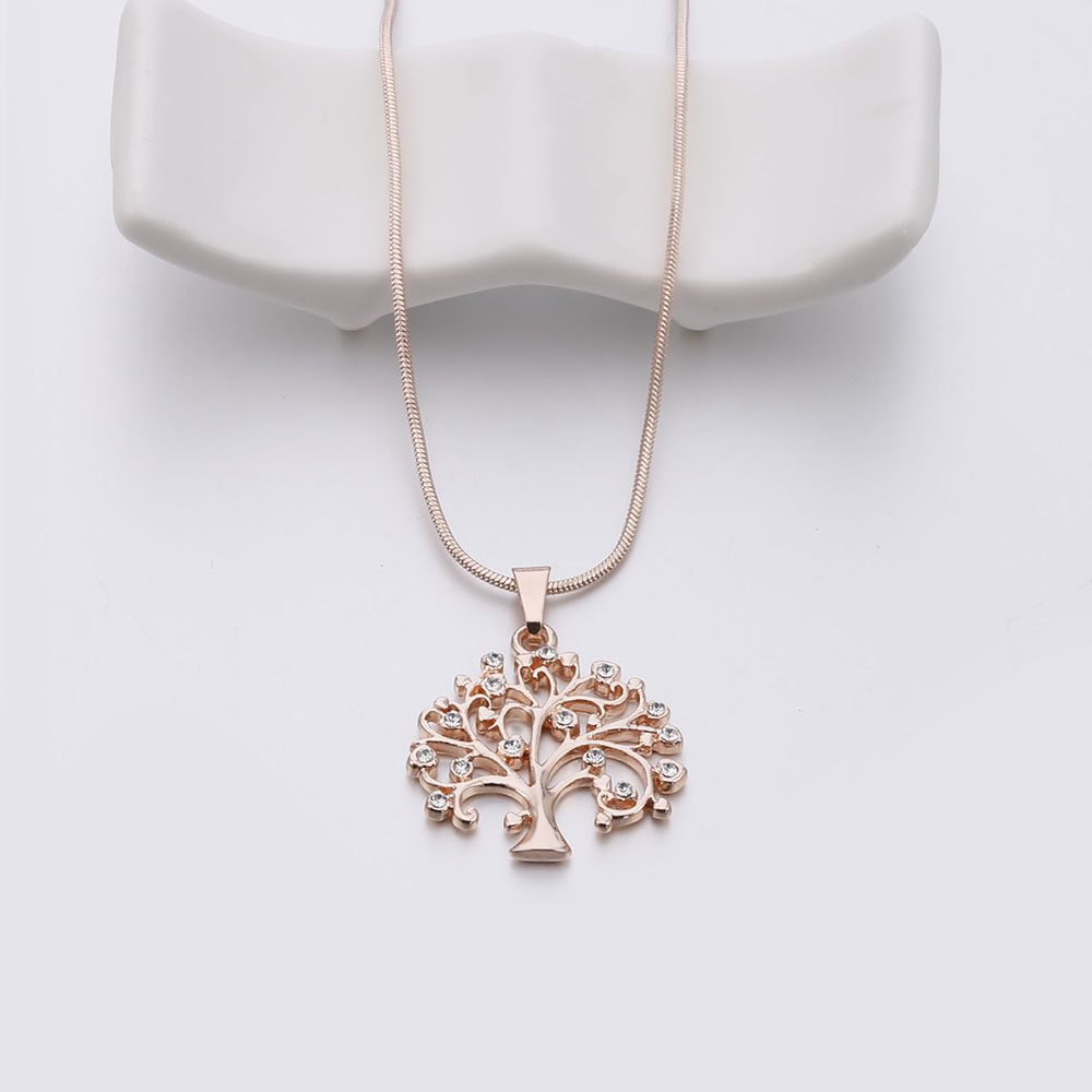 e9dc1a990c905 US $3.65 31% OFF Crystal Tree of Life Choker Necklace Earrings Set for  Women Cute Simple Tree of Life Drop Earrings Set Fashion Jewelry Mon  Gift-in ...