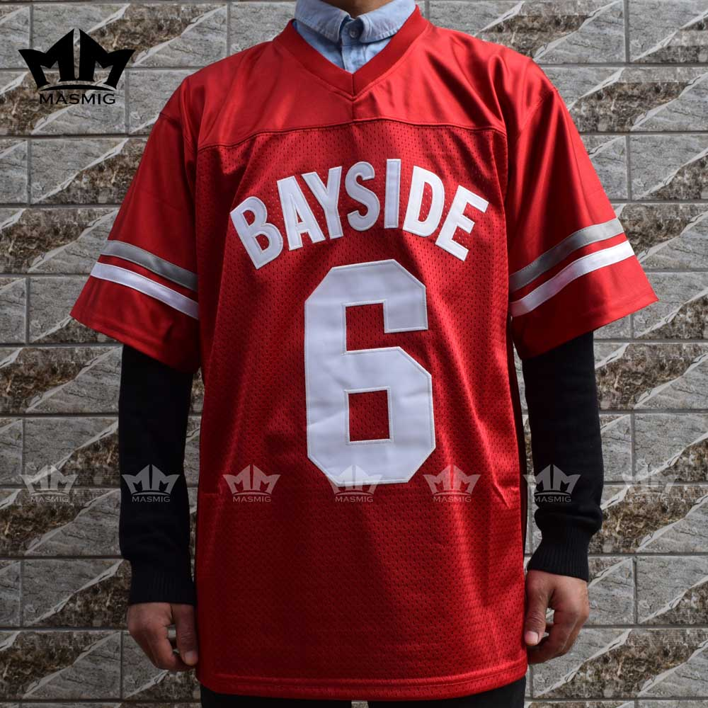 MM MASMIG Saved By The Bell AC Slater 6 Bayside Football Jersey Red For  Free Shipping 77238439781f
