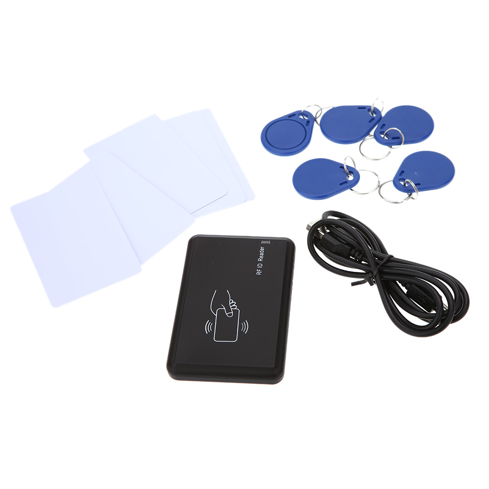 USB RFID ID Contactless Proximity Smart Card Reader Windows USB ID card reader 5pcs Cards + 5pcs Key Fob 13.56MHZ RFID usb rfid id contactless proximity smart card reader em4001 em4100 windows usb id card reader access control card reader