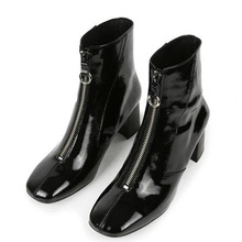 Europe style winter Women Shoes Patent leather square head  Front zipper Female boots black high heels bottes femmes