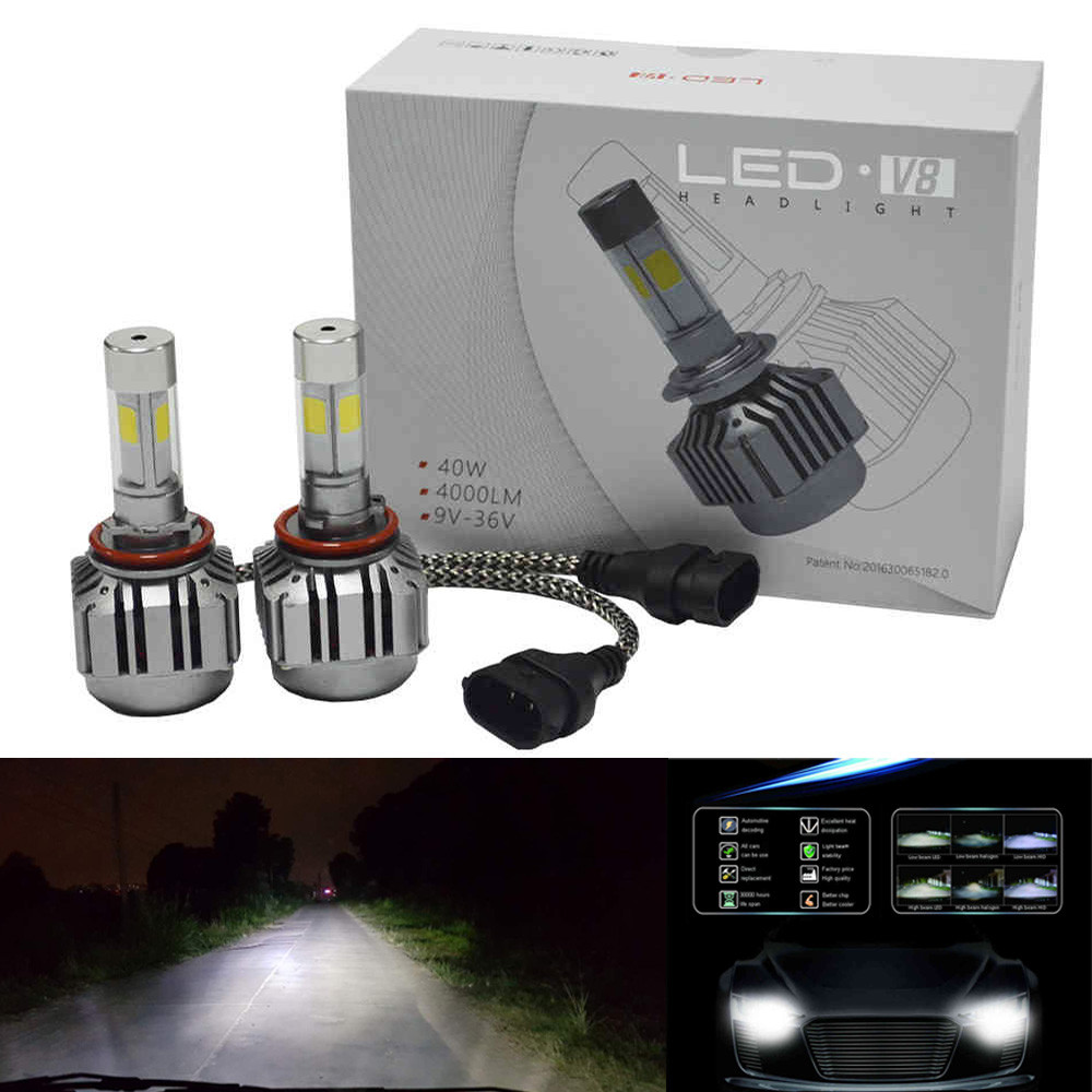 1Pair 2016 80W 8000LM CREE Chips LED H8 H9 H11 Headlight Kit Low Beam Bulbs 6000K White Bulbs