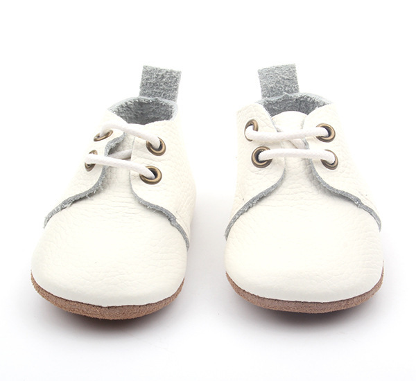 4pairs/lot New Genuine Leather white solid Baby Moccasins Shoes lace up Baby Shoes Newborn first walker Infant Shoes