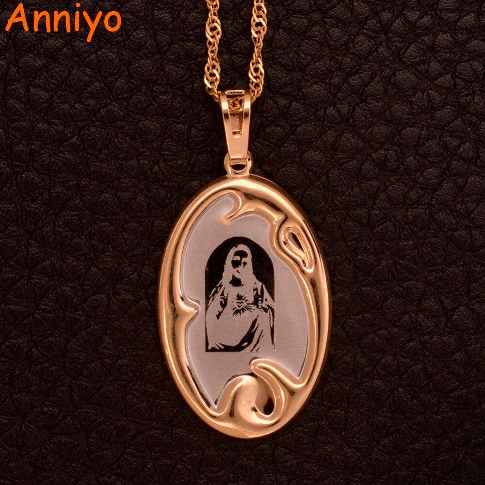 Anniyo Иисус портрет кулон с тонкими цепочками для Для женщин/девочек религиозные подарки светлое золото Цвет Кристиан изделия #057204