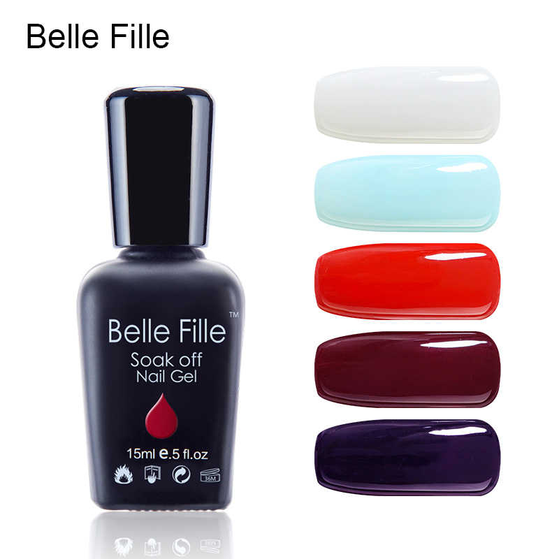 Belle Fille 15ml Gel Nail Polish UV LED Light Blue Color Red Coat Gel Varnishes Nail Art Candy Color Purple Gels for UV Lamp