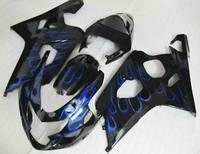 Miễn phí vận chuyển ABS Injection đen & Blue Flame fairing Fit Suzuki GSXR600 2004-2005 GSXR-750 $number K6 04 05 (Fits: 2004 GSXR600)