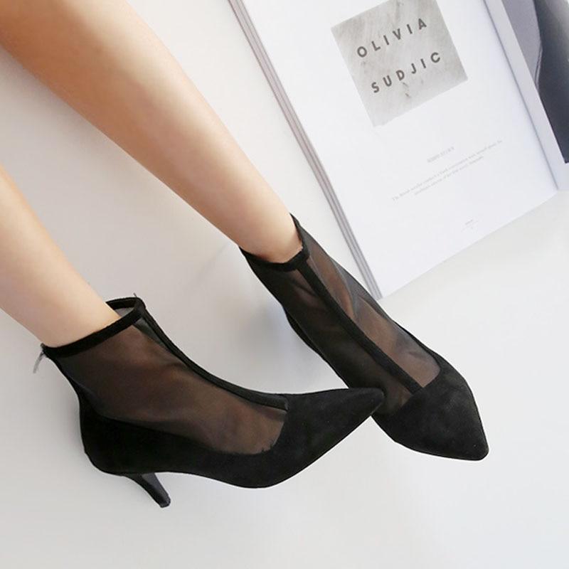 Botas cortas de malla puntiaguda para mujer 2018 nuevas botas de tacón de aguja con cremallera verano y otoño sandalias transpirables para mujer