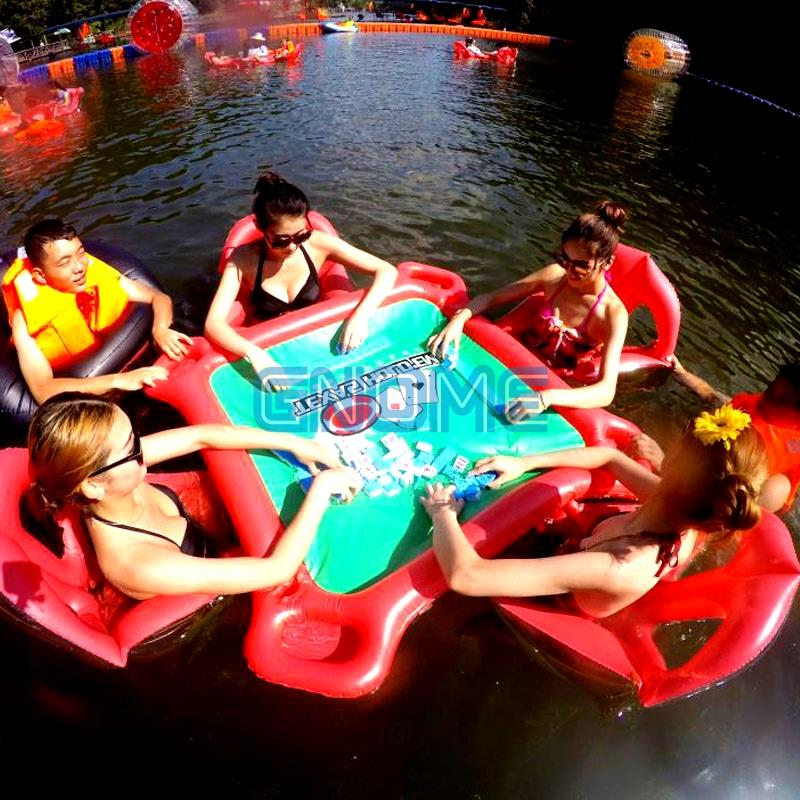 Inflatable In Water Texas Porker Pool Toy Sand Float Cup Holder Swim Ring Holiday Fun Floating Row Mahjong Table Chair