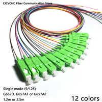 12 couleurs SC/APC-SM (9/125)-G652D, G657A1, G657A2-0.9mm Cable-1.2m ou 2.5 m/Fiber optique Pigtail