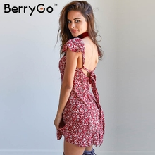BerryGo Navy floral print short dress Women backless high waist summer dress Vintage back strap red boho beach dress vestidos