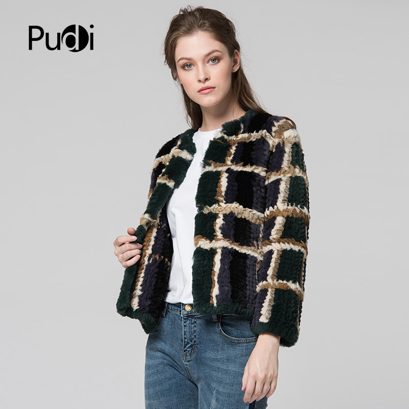 CR077 genuine rabbit fur coat real fur knitted knit jacket womens winter warm plus size customized