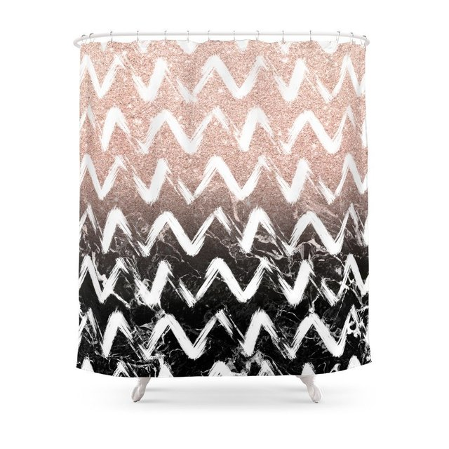 Modern Faux Rose Gold Glitter Black Marble Chevron Shower Curtain Set Waterproof Fabric For Bathroom With