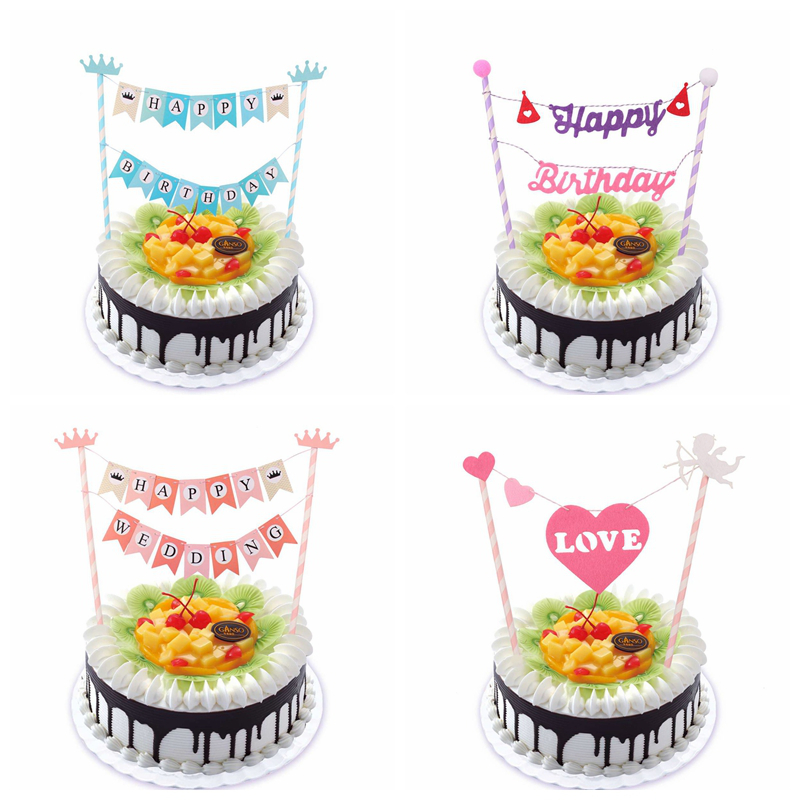 Happy Birthday Cupcake Topper ~ Mickey head happy birthday cupcake topper bunting flags picks kids party wedding baby