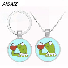 New jewelry Cute Kermit the Frog Necklace pendant key chain enamel high quality Best gift Children's Christmas gift Avengers(China)