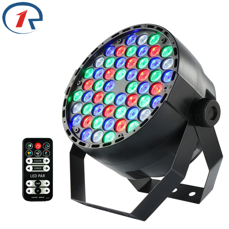 ZjRighrt IR Remote Fullcolor 54 LED Par lights DMX512 Dyeing effect lights Sound control LED stage light Party DJ disco lighting 2pcs dj disco par led 54x3w stage light dmx strobe flat luces discoteca party lights laser rgbw luz de projector lumiere control
