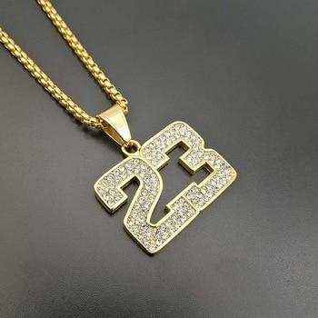 c9a5a4d9733e Hip hop 316L collar de acero inoxidable colgantes para NO 23 colgantes  baloncesto fans collar de alta calidad