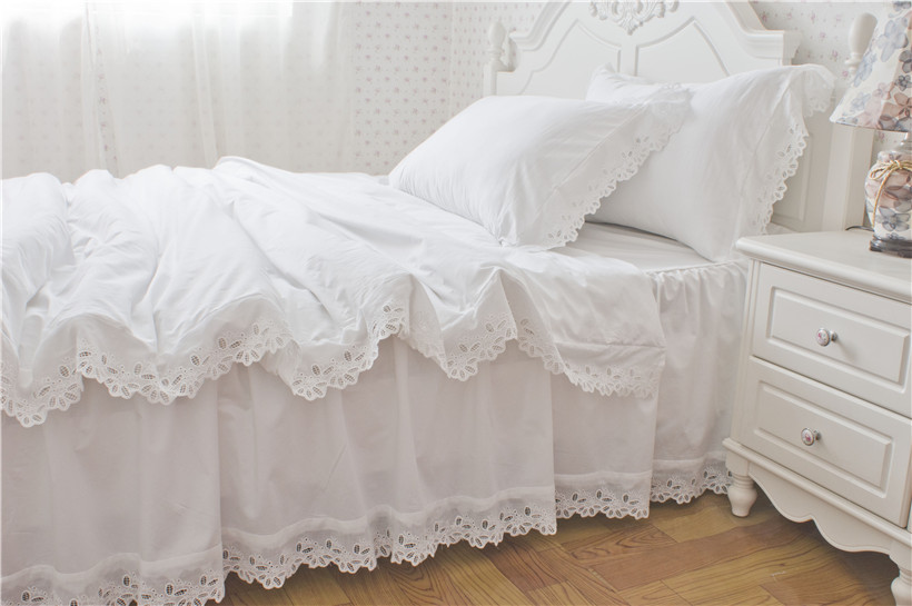Bright White Color Hollow Lace Edge Duvet/Quilt Cover With Zipper 100%Cotton Ultra Soft Bedskirt Bedding Set Queen Size Shabby