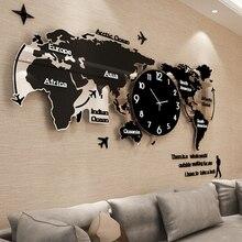 Большая карта мира настенные часы Световой современный дизайн для Гостиная светятся в темноте акриловые часы наклейки на стены домашние декоративные часы