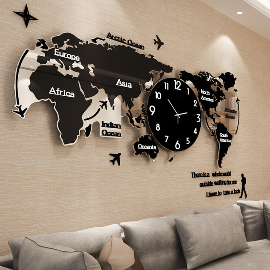 Large World Map Wall Clock Luminous Modern Design for Living Room Glow in Dark Acrylic Clocks Stickers Wall Watch Home Decor