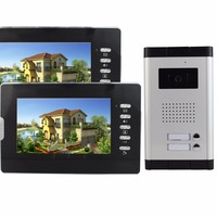 Video Intercom 7 Color LCD Video Door Phone Wired Intercom Doorbell IR Camera 2 Monitor For