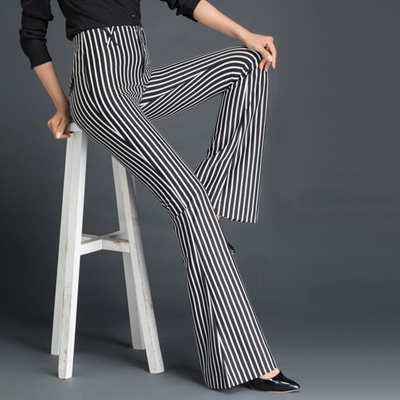 2017 New Women Fashion Flare Pants High Waist Elastic Pants Female Striped Wide Leg Trousers White Black Plus Big Size S to 9XL inc new solid deep black women s size 2 tapered leg two pocket pull on pants $69