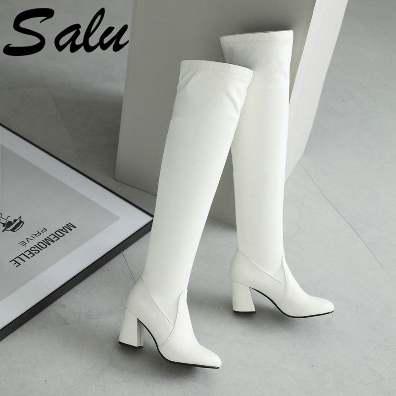 Salu Pu Leather Comfort Square Heel Woman Over The Knee Boots Fashion Side Zipper Party Woman Thigh Boots Black Size 47 48Salu Pu Leather Comfort Square Heel Woman Over The Knee Boots Fashion Side Zipper Party Woman Thigh Boots Black Size 47 48