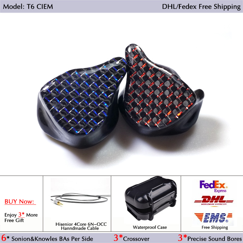 Hisenior T6 12Units Balanced Armature CIEM Custom Fit In Ear Monitor Noise Cancelling Earphone DHL FEDEX