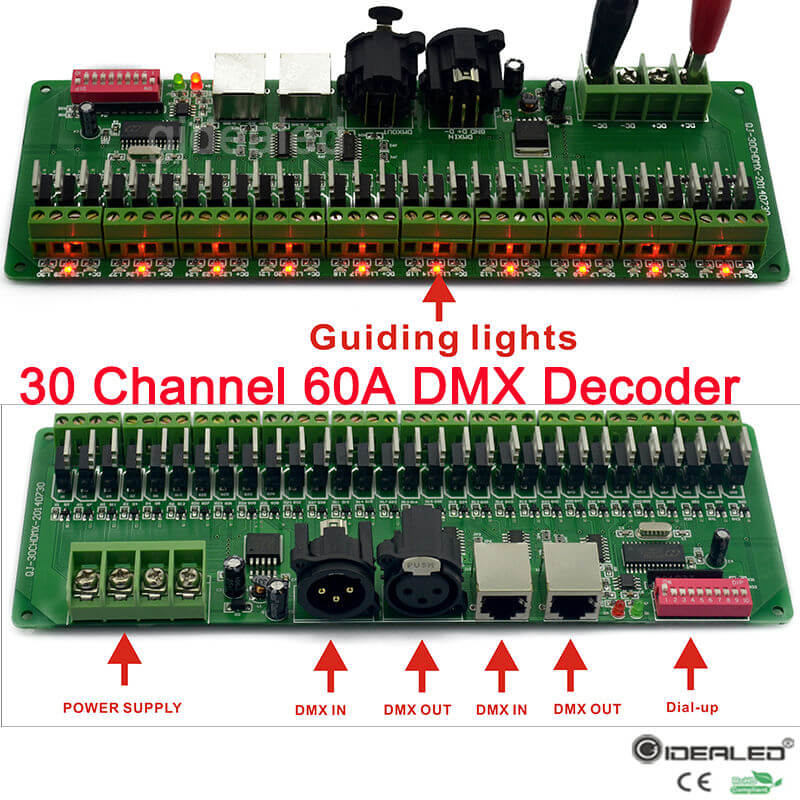30 channel DMX Decoder with RJ45 and XLR Plug 27 channel DMX512 Decoder For DC12V-24V RGB Strip Controller 60A dmx dimmer driver
