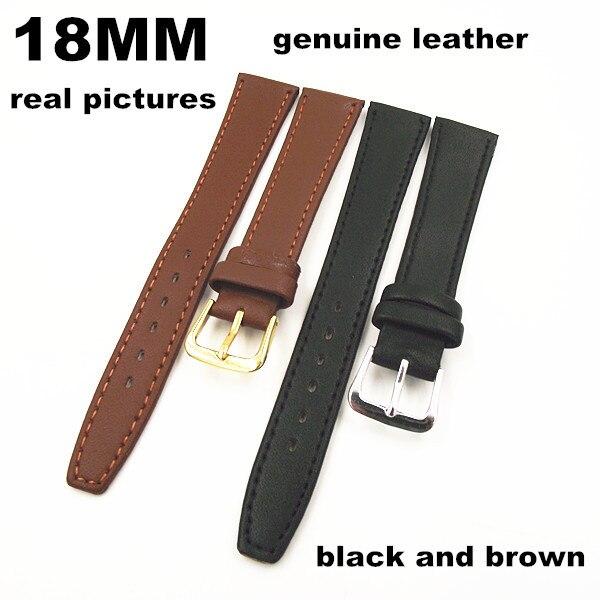Новое поступление-Высокое качество 50 шт./лот 18 мм Натуральная кожа Смотреть полоса ремешок смотреть части черный и коричневый цвет -091203