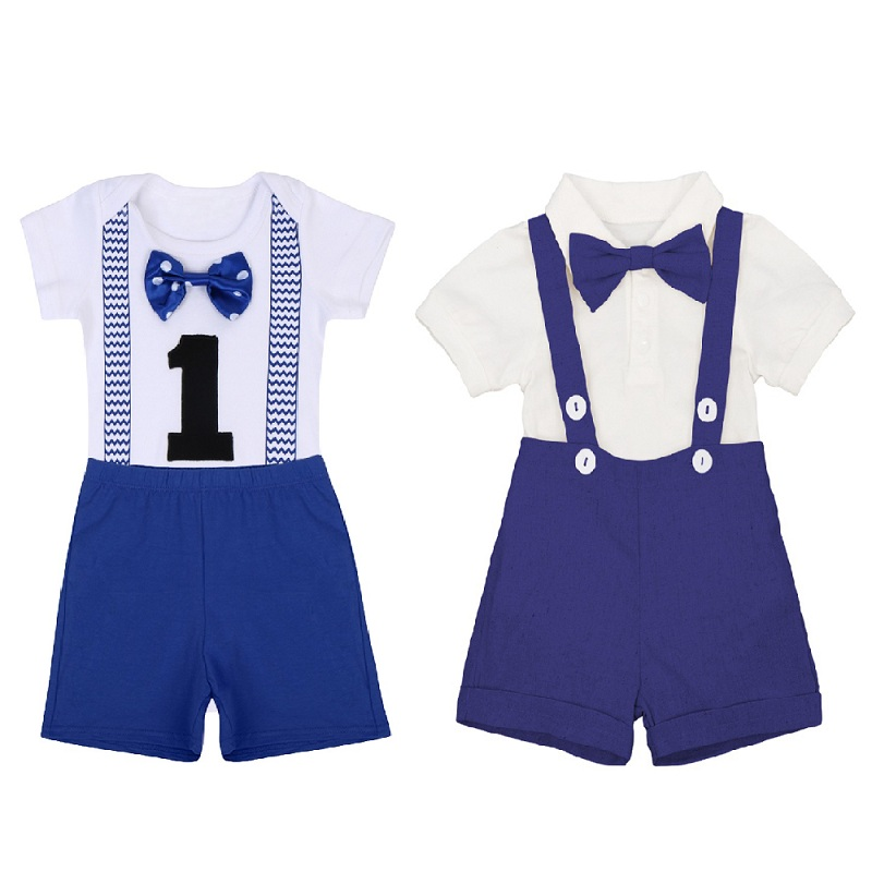 1st Birthday Cake Smash Outfit for Baby Boys Short Sleeve Romper Pants 2PCS Sets