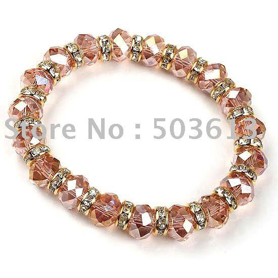 one piece Handmade Water Red Colour Crystal Beads Stretch Bracelet(gcb1013)