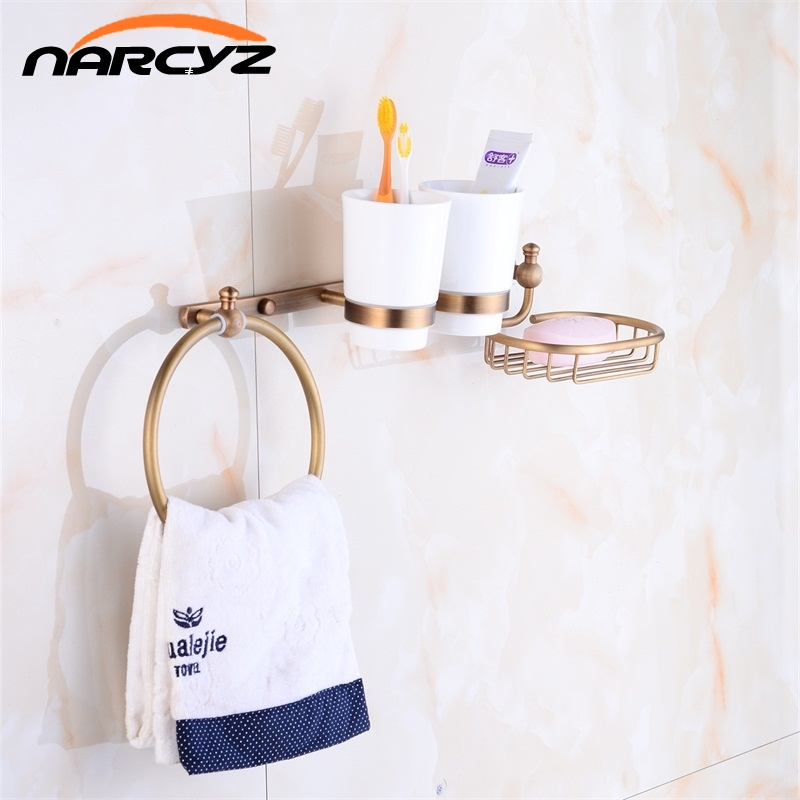 Wall Mounted Towel Ring 2 Cup Holder Soap Dish Holder Mulit-Function Shower Caddy Organizer Bathroom Storage Rack Shelves 9063K multi function bathroom hair dryer holder wall mounted rack antique copper shelf storage organizer hairdryer holder bl 8317f