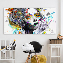 Modern wall art girl with flowers picture Wall Art Picture Canvas Oil Painting Print For Living Room Home Decor No Frame H215