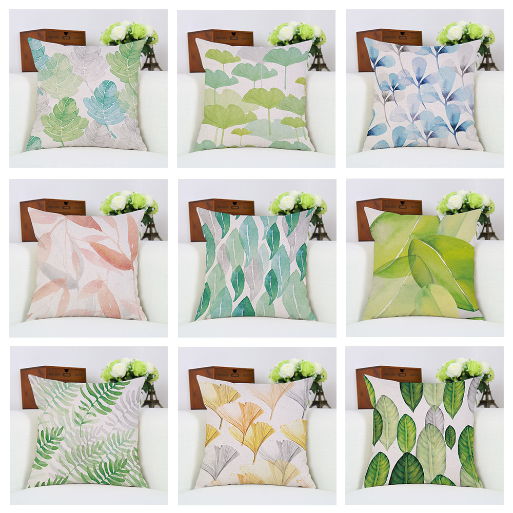 Fresh Plant Leaves Cloth Pillow Case Office Chair Lumbar
