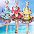 Novo 2016 New Hot Sale Antiga Tradicional Vermelho Amarelo Azul S-4XL Plus Size Chinês Miao Roupas/Roupas Hmong