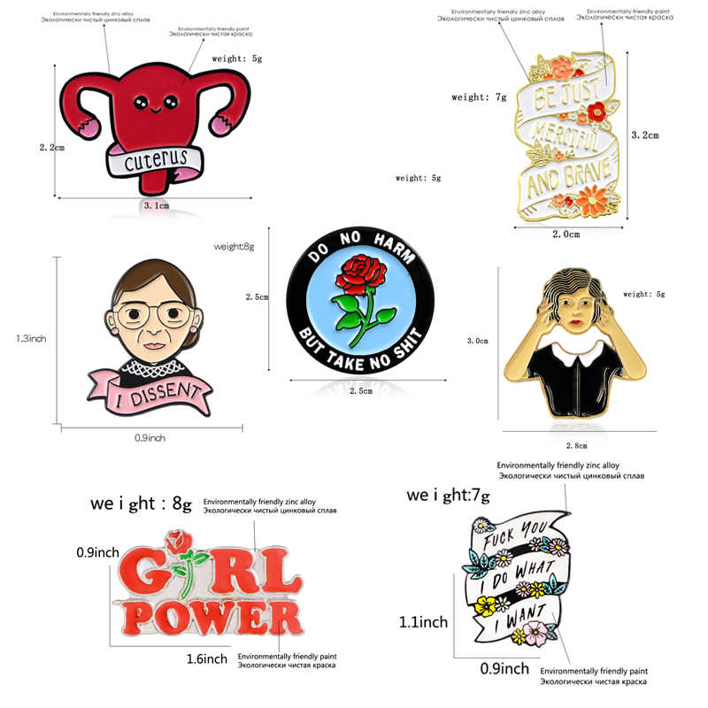 Феминизм брошь Uterus делать то, что вы хотите сделать Роза девушка сила я DISSENT женский вдохновляющий эмалированный значок-булавка феминистские подарки